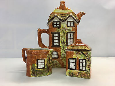 Price Kensington Cottage Ware pottery thatched cottage coffee pot and set