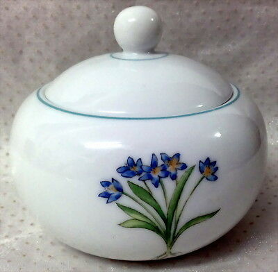 Hand Made & Decorated White Ginger Bowl With Lid Flowers & Foliage