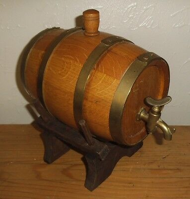Vintage Oak & Brass Banded Whiskey Barrel with Brass Tap on stand VGC