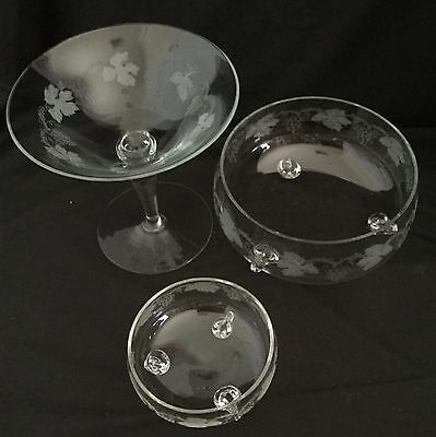 Vintage Glass Grape Vine Comport, Large Bowl & Small Bowl
