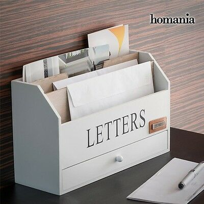 Wooden Letter Rack Organiser Post Holder Box Wood Vintage Shabby Chic Storage pc