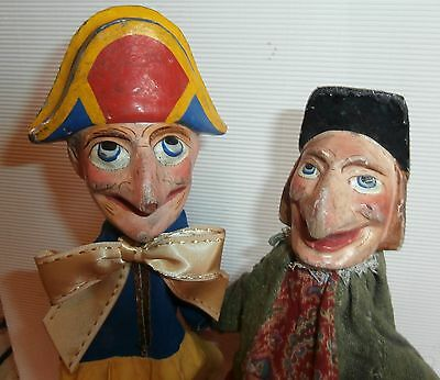 est/ 2 EXCEPTIONALS  *PUNCH& JUDY *WOOD CARVED HEAD c1900 CHARACTER PUPPETS *