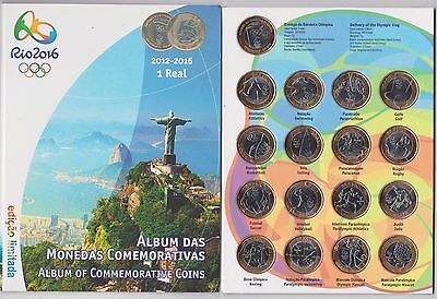 2016 Rio Olympics BUNC - Brasil 1 Real 17 Coins - Full Set In NEW Album
