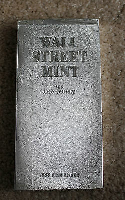 Vintage 100 Oz .999 Fine Silver Bar Wall Street Mint Excellent Condtition-Rare-