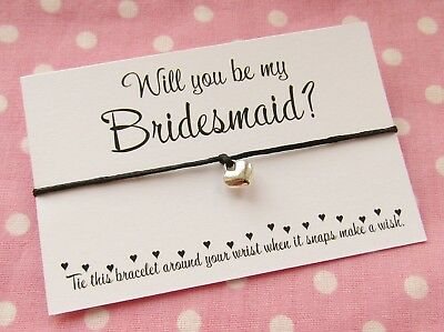 Will You Be My Bridesmaid Chief Maid Of Honour Flower Girl? Wish Bracelet & Bag