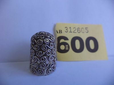 Vintage Solid Silver Thimble with Swirl Decoration - London / 1989 / C&CC