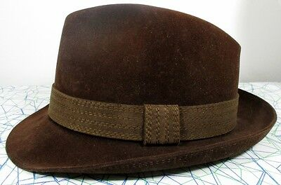 "Vintage 60s Brown Suede Fedora/Trilby Hat SMALL(21"" 53cm) Jazz/50s/Mid Century"