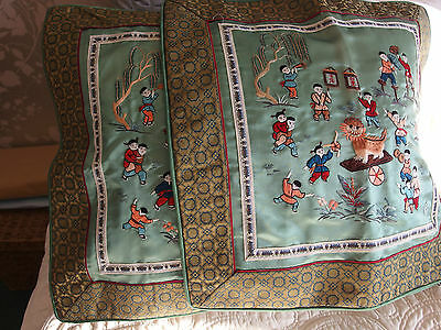 vintage Chinese silk embroidery cushion covers