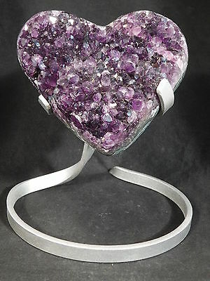 A BIG DEEP Purple AMETHYST Crystal Cluster HEART Stand Included Uruguay 1260gr e