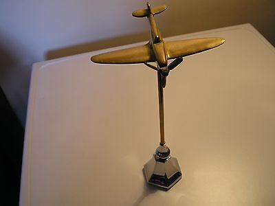 "Brass trench Art Model of a ww2 Hurricane Fighter aircraft. wingspan 5.5"" 15oz"