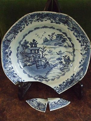 Antique Chinese Blue & White Octagonal Dish