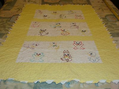 Hand-embroidered and Quilted BABY CHILD'S CRIB QUILT BLANKET Adorable Animals!