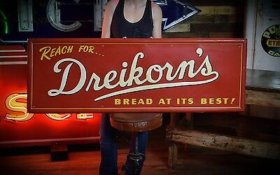 ANTIQUE Dreikorn's BREAD COUNTRY STORE METAL TIN SIGN Gas Station Deli Nice Item