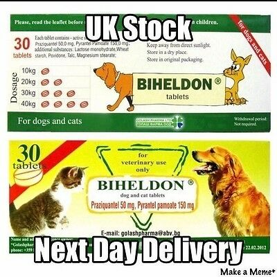 30 Biheldon Dog Worming tablets - UK seller. Next day delivery - very effective