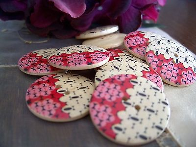 6 Beautiful Pink & Natural Wooden Buttons