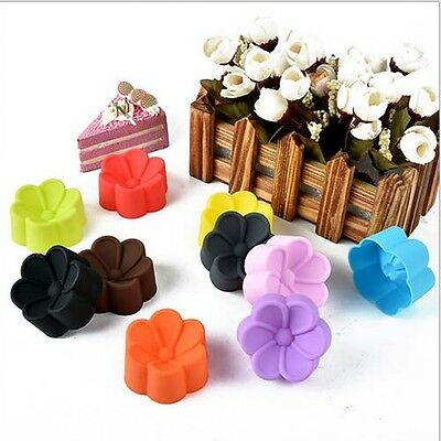 10PC Flower Cake Mold Soap Flexible Silicone Mould Candy Chocolate Cake Kitchen