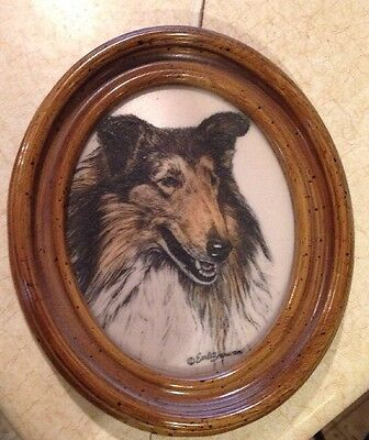 Earl Sherwan Collie Lassie Dog Marvetti cultured Ivory plaque wood framed