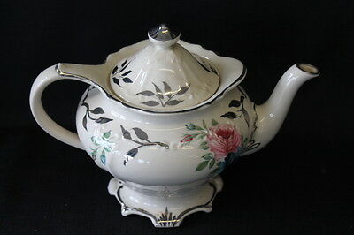 vintage cream & silver teapot roses Made in England