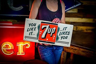 Vintage 1950's  7 Up Sign Nice original condition Gas Oil Station Deli Grocery