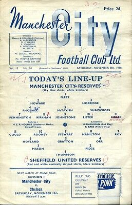 Manchester City v Sheffield United 08/11/58 Central League