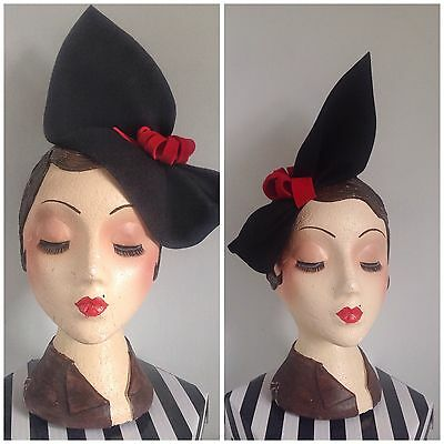 Vintage style, 1940s Inspired black felt Sculptured Hat, With Red Trim