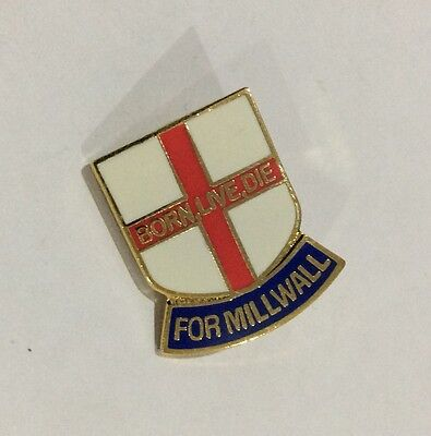 """MILLWALL Football Club Badge FC Enamel LIONS SUPPORTERS MFC PIN """"BORN LIVE DIE"""""""