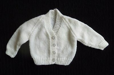 Baby clothes UNISEX BOY GIRL premature/tiny<7.5lbs/3.4kg white handmade cardigan