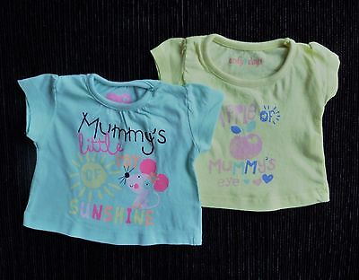 Baby clothes GIRL premature/tiny<7.5lb/3.4kg 2 fun yellow/aqua mouse/hearts tops
