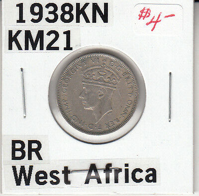British West Africa. 3 Pence, 1938 Kn. King George Vi