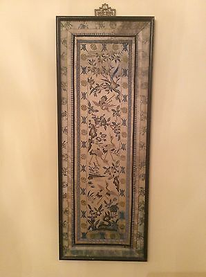 Antique Silk Chinese Embroidery Blessing Longevity C. 1800's Framed Embroidery