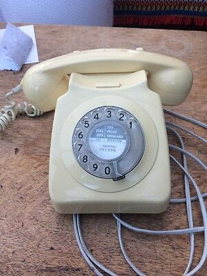 Original GPO Vintage 746 Cream Rotary Dial 1981 Telephone (Converted, Working)
