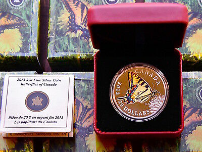 2013 Canadian 1 oz Silver $20 Tiger Swallowtail Butterfly w Display Box & COA