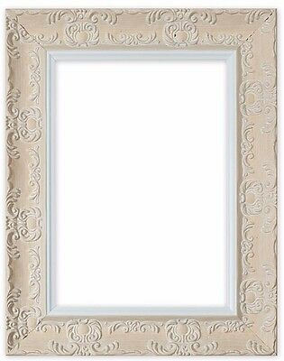 Wide Ornate Shabby Chic Antique Swept Picture Frame Photo Frame White/Muse
