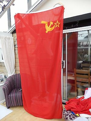 USSR Soviet Union Flag Hammer & Sickle 7.5 ft x 3.5 ft woven with toggle
