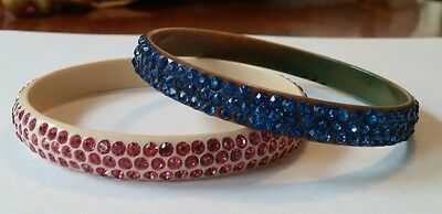 Lot of 2 Antique Art Deco Rhinestone Celluloid Bangle Bracelets Pink & Blue