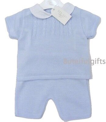 Boy's Spanish Style Sky Blue Cable Knitted 2 Piece Top & Shorts Set 0-24 Mth