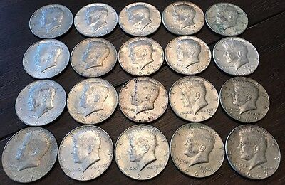 Lot Of 20 Kennedy Half Dollars 40% 1965-1969 Nice Set $10 Face No Reserve