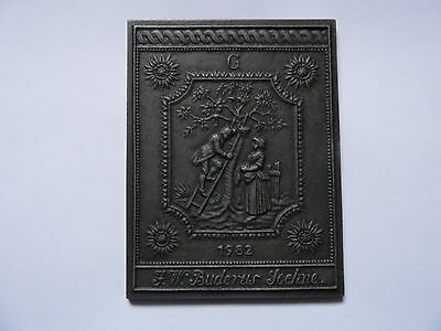 Interesting German cast iron embosed plaque picture by Buderus dated 1982