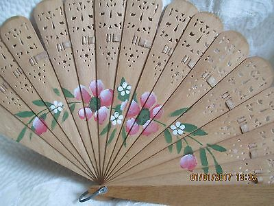 Vtg Antique Hand Painted Wood Folding Hand Fan~Pink & White Flowers~Nice Cond~