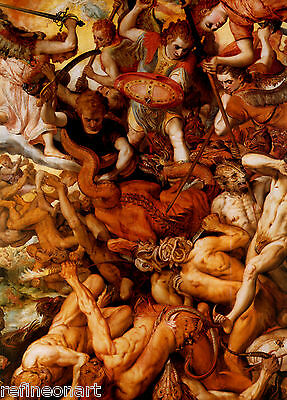 The fall of the rebel angels , by Frans Floris the Elder Giclee Canvas Print