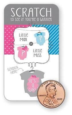 Baby Shower Gender Reveal Pink Girl Bow Bowtie Party Scratch Cards Game