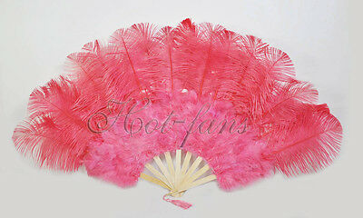 """primary Burlesque 21x 38"""" Coral red Marabou Ostrich Feather fan & carrying case"""