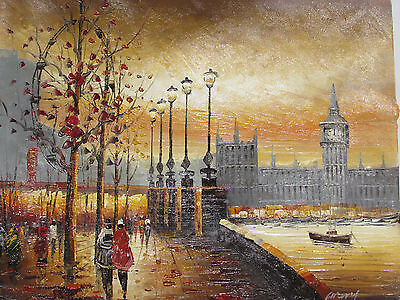London Eye large oil painting canvas contemporary art cityscape england original