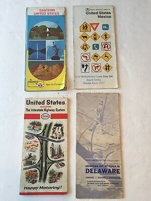Vintage lot of 4 Maps 1950's, 60's, 70's