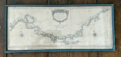 Rare 1719 Antique Map  Wide View Of Coast Of Provence From Rhone To Monaco