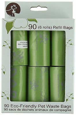 One for Pets 1002-GR-1 Degradable Waste Bags, Refill Pack 6 Rolls, Green