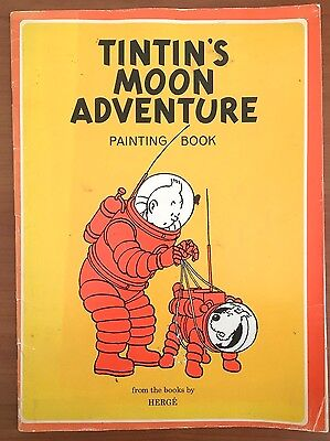 TINTIN'S MOON ADVENTURE Painting Book 1974 2nd Reprint Edition EO Herge