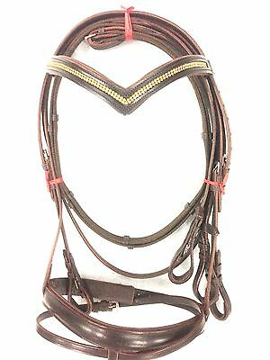 New Leather English Snaffle Bridle with Diamond Chain Cob Size Brown