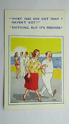 1950s Risque Funny Vintage Postcard Bathing Beauty BBW Big Boobs Married Life