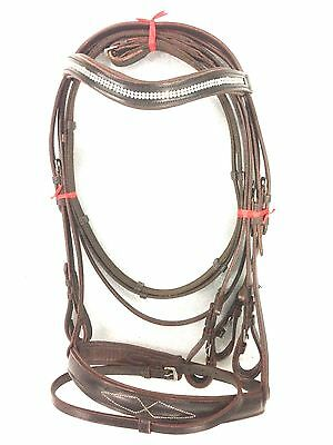 New Branded Leather English Bridle with Diamond Chain Cob Size Brown